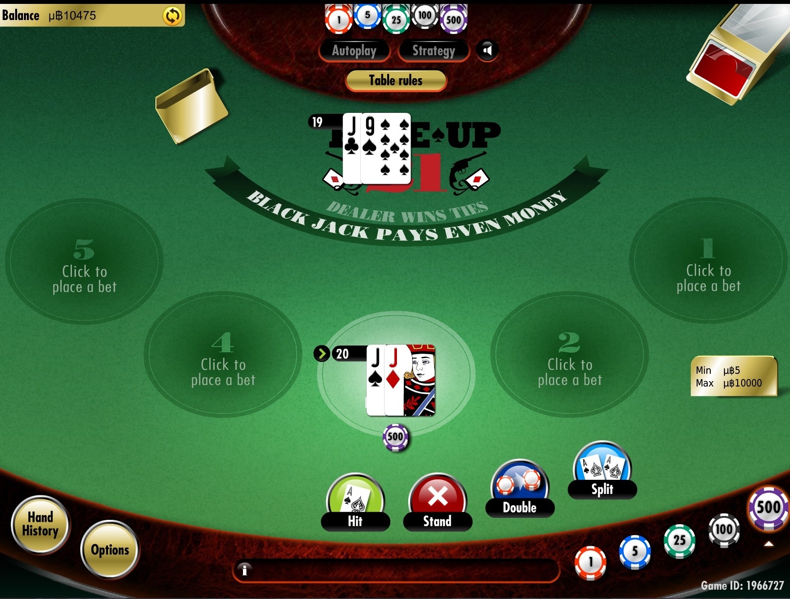 play 21 card game on Bspin