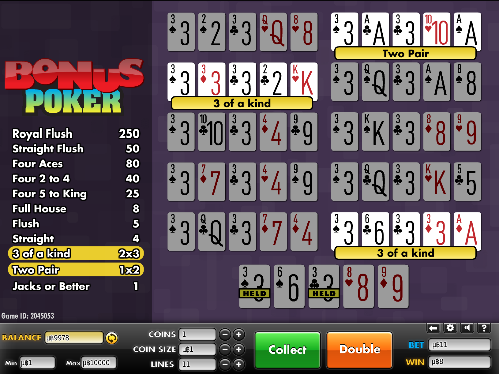 Bonus poker strategy on Bspin.io