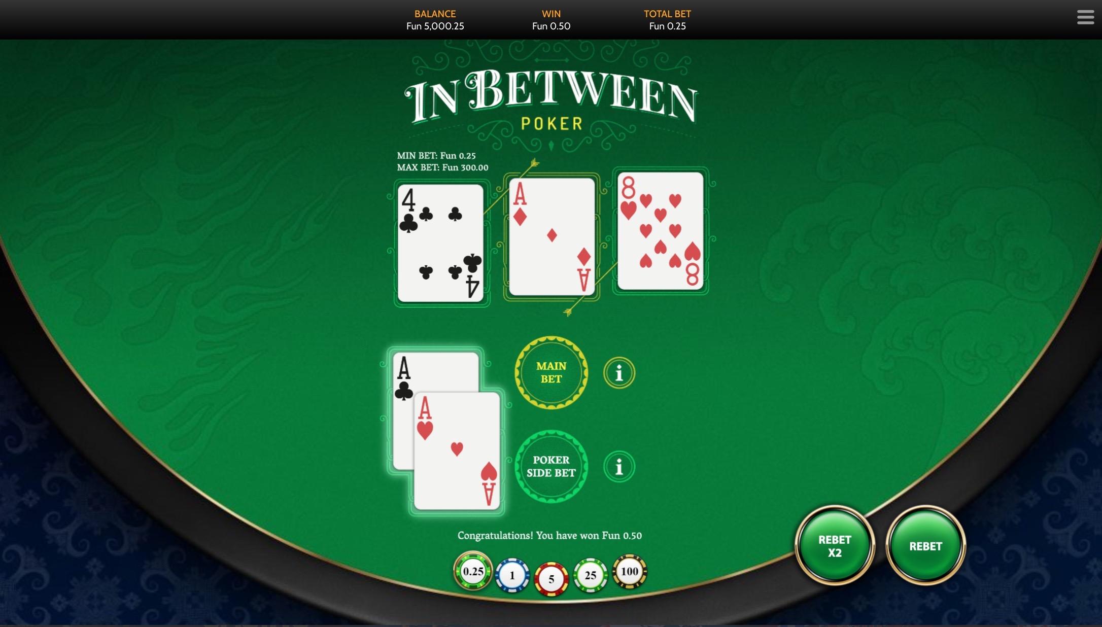 In between poker Bspin
